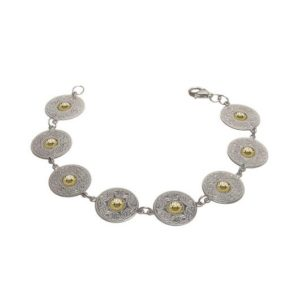 WB1B Small Disc Wire Bracelet with 18k Gold Bead
