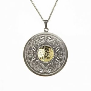 WP5B Extra Lrg Silver Pendant with 18K Gold Bead