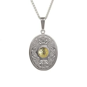 WP7B Oval Celtic Warrior Pendant with 18K Gold Bead