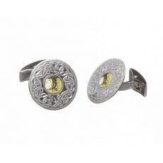 WCL2B Large Celtic Warrior Cufflinks with 18K Gold Bead