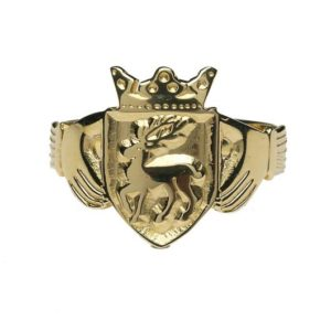 G200 Personalised Gents Family Coat of Arms Claddagh Ring