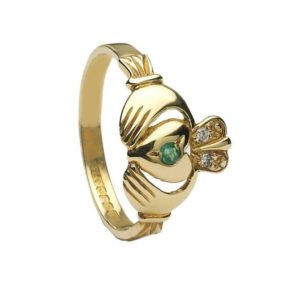 CLAD11 Diamond & Emerald Claddagh Ring