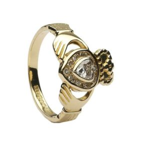 CLAD30DD Diamond Set Heart Claddagh Ring