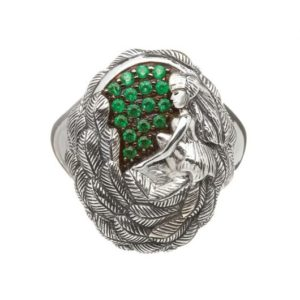 TDR01ES Danu Sterling Silver Ring with Green CZ
