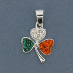 Shamrock Pendant with Tricolour CZ Stones