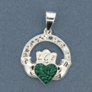 Claddagh Pendant with Green CZ Stone