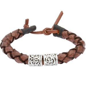 Brown Leather Wristband With Celtic Silver Bands