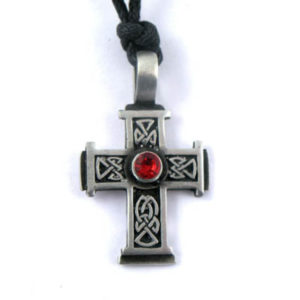 Celtic Cross Choker with Hematite Grey Stone