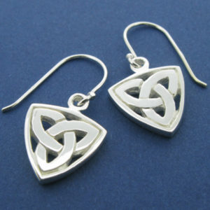 Silver Trinity Knot Border Drop Earring
