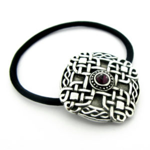Celtic Woven Cross Hair Bobbin with Red CZ in Pewter