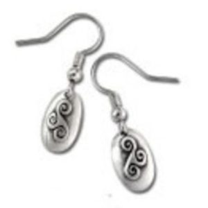 Triskele Symbol Celtic Design Pewter Earrings