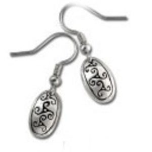 Celtic Triskele Design Pewter Drop Earrings