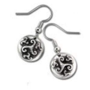 Four Spirals Celtic Design Pewter Earrings