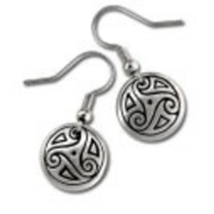 Pewter Drop Earrings in Path of Life Design