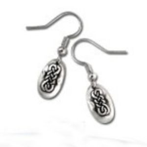 Pewter Drop Earrings in Celtic Realm Design