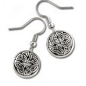 Cross of Life Celtic Design Pewter Earrings