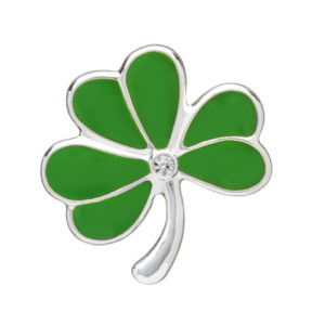 Silver Plated Green Shamrock Brooch