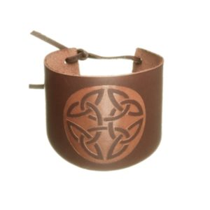Wide Cuff Leather Wristband with Celtic Trinity Design