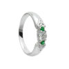 Trinity Knot Ring with Green & Whine CZ Stones Sterling Silver