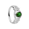 Celtic Knotwork Ring in Sterling Silver with Green CZ Stone