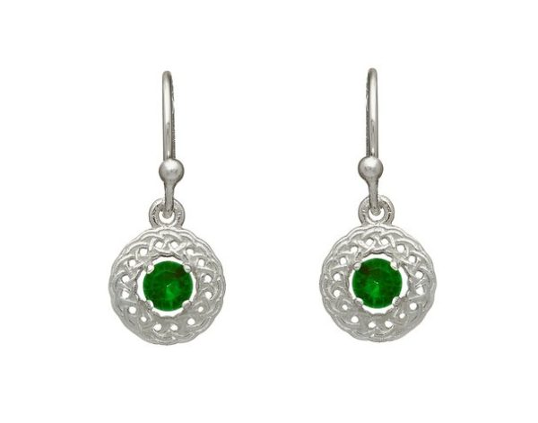 Knotwork Drop Earring with green CZ Stones