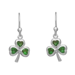 Green Glass Shamrock Drop Earring