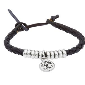 Leather & Silver Wristband with Celtic Design