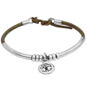 Silver & Leather Wristband with Tree of Life Design
