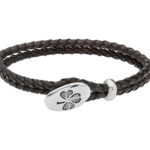 Leather Wristband with Silver Shamrock Design