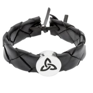 Wide Plait Wristband in Celtic Trinity Knot with Pewter Disc