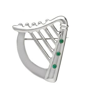 Silver Plated Green CZ Harp Brooch
