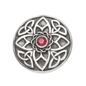 Trinity Knot Brooch with Red Stone