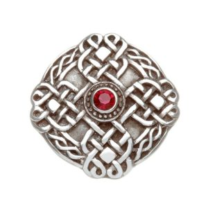 Celtic Knotwork Brooch with Red Stone