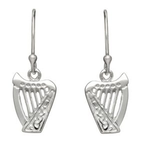 Harp Drop Earring in Sterling Silver