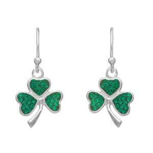 Shamrock Drop Earring with Green CZ Stones