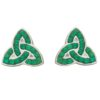 Trinity Stud Earring with Green CZ Stones