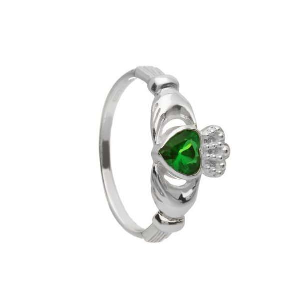 Claddagh Ring with Green CZ Stone