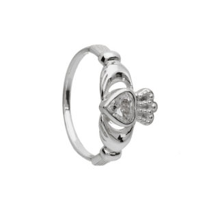 Claddagh Ring with White CZ Stone
