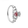 Sterling Silver Claddagh Ring with Pink CZ Stone