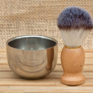 shaving set chrome dish light wood brush razor