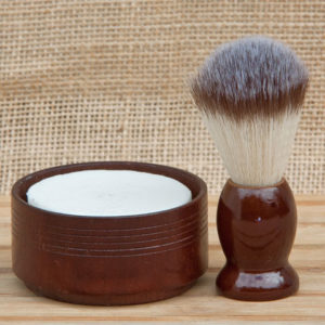 shaving set wooden dish brown wood brush