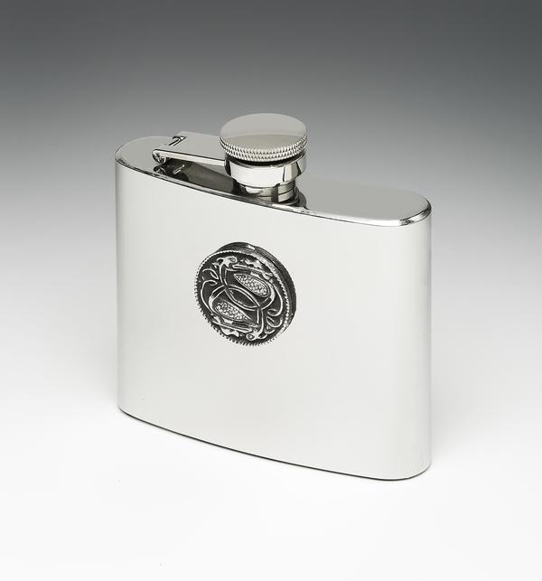 Whiskey Flask Celtic Stainless & Pewter Design